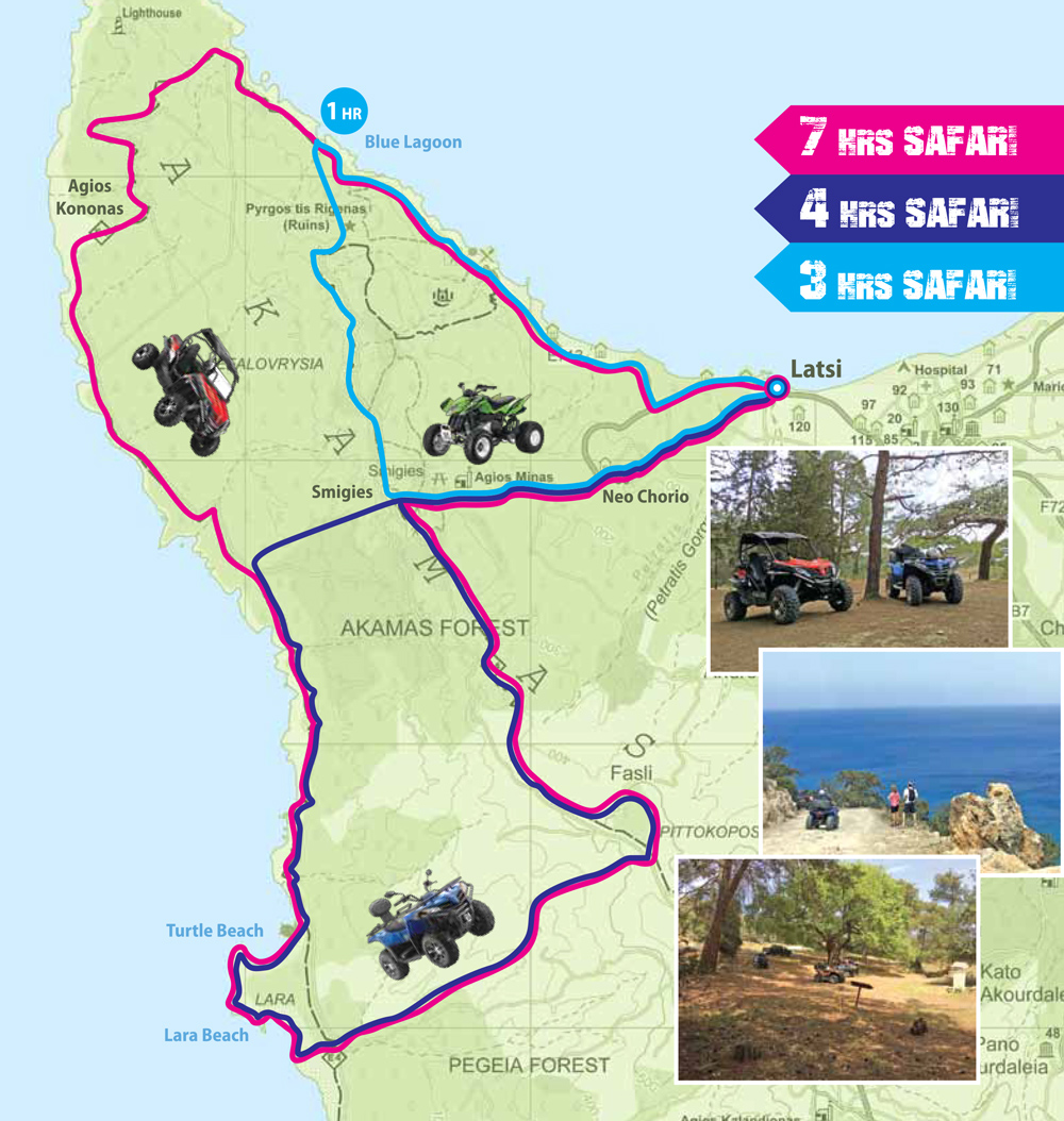Our 3 safari trails on map - STS MOTO FUN - Latchi